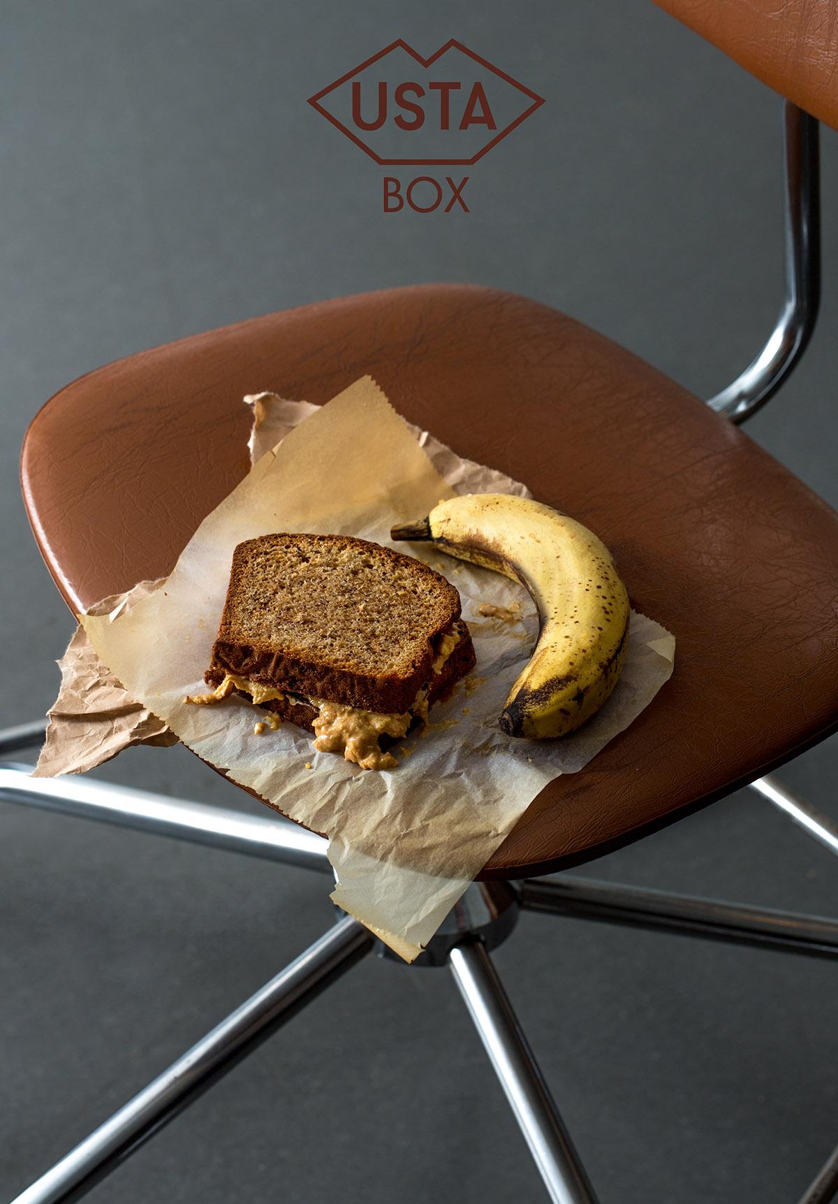 Pudełko 11: chleb bananowy z domowym masłem orzechowym