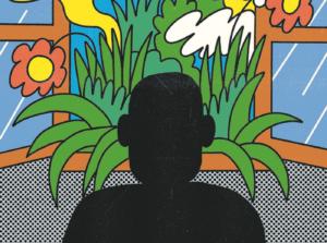 kontur człowieka na tle okna pełnego kwiatów